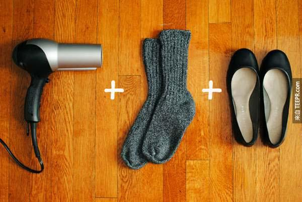 2.) Use socks and a hair dryer to stretch out and break in your new flats in just a few minutes.
