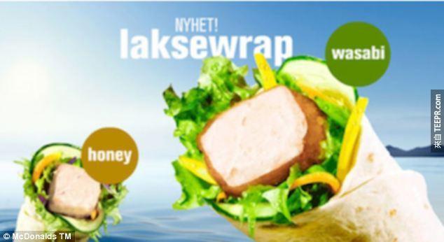 29. 挪威的菜單上則是有清爽的鮭魚片捲。