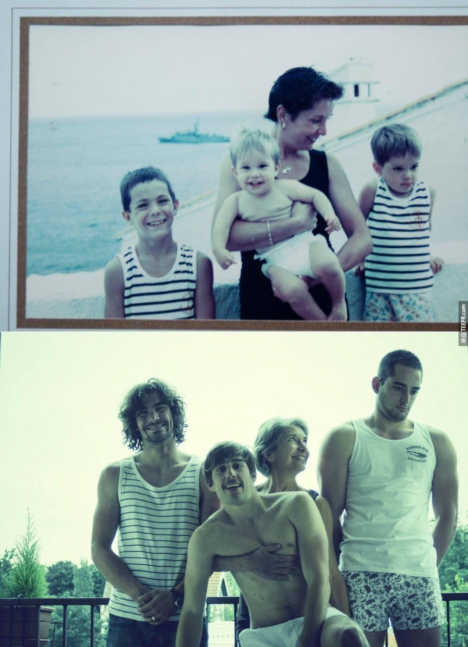 這35個家庭把他們往日最爆笑的兒童照片重新拍攝。每個人都應該要有這些之前之後的照片。