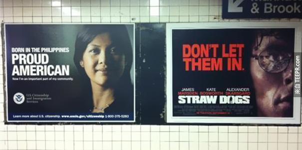 """左邊:菲律賓移民廣告。右邊:""""Don't Let Them In"""" (不要讓他們進來)《暴力正義》。"""