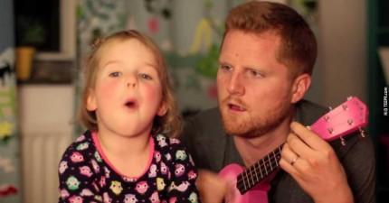 這個小女生一直睡不著覺,因此他的爸爸為她做了一件最貼心的事情。