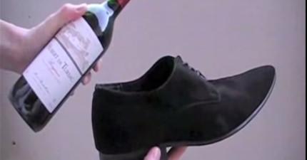 沒有紅酒開瓶器嗎?沒關係,用鞋子就可以了!