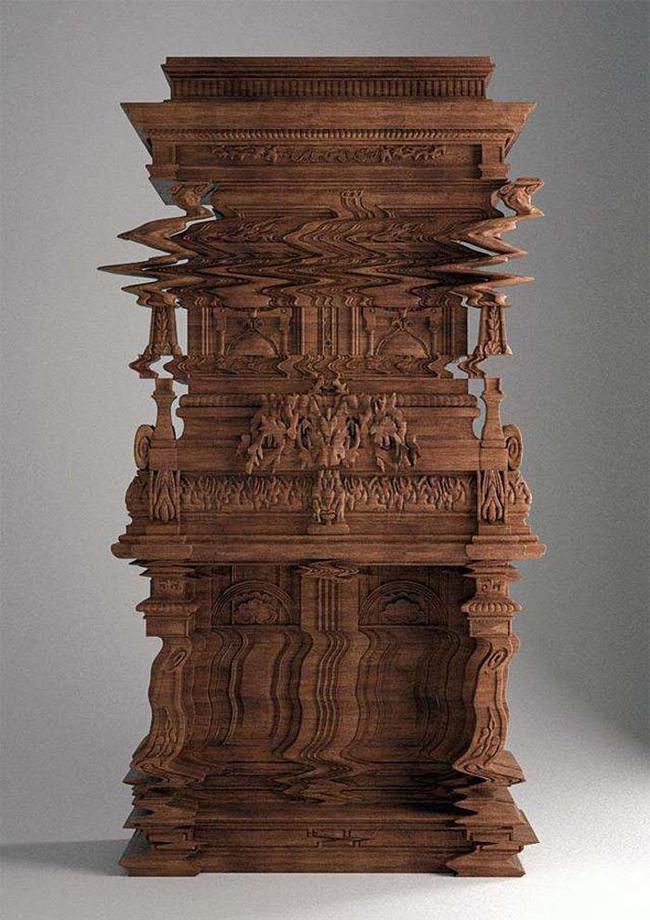 這些奇特的雕刻讓這個櫃子假裝自己故障了。