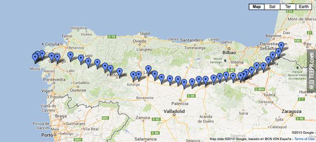 Google地圖上的埃爾卡米諾朝聖之路,這是一趟見證友情、夢想和超越自我的旅程。