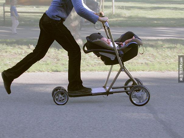 滑板嬰兒車聰明設計