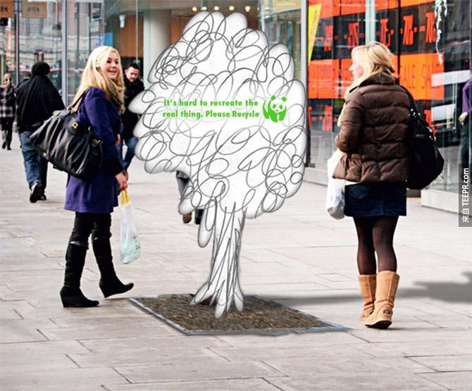 32.) 請環保,因為重生真正的樹太難了。