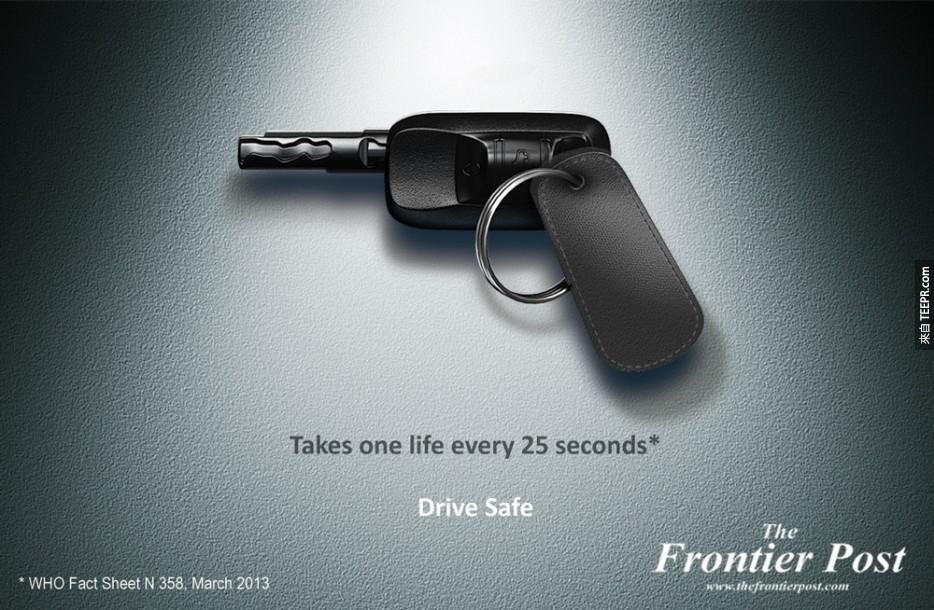 28. 每25秒帶走一個生命:小心駕駛。