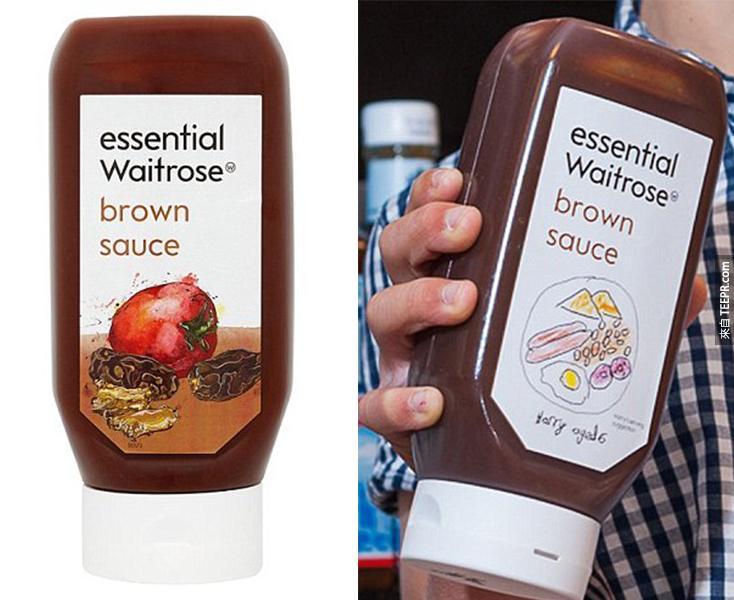 這是棕醬原先的包裝(左),和Harry畫的新包裝(右)。