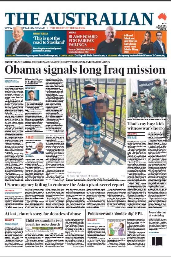 這張在澳洲報紙裡面出現的照片讓大眾極度憤怒。(裡面有讓人看得不舒服的圖片)