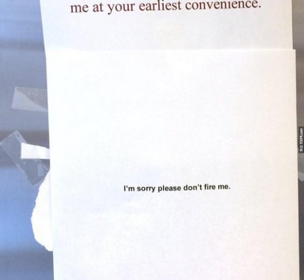 11. 三明治小偷:「對不起,請不要開除我...」