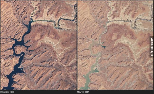 1)乾旱 - 鮑威爾湖,亞利桑那州/猶他州
