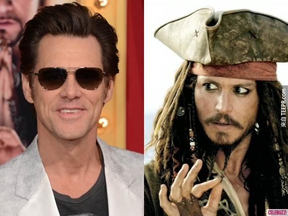 4. 很難想像啊!金凱瑞(Jim Carry)原本要演神鬼奇航的傑克船長(Captain Jack Sparrow)。(噢不~我的強尼戴普!)