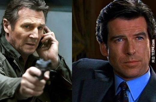 13. 連恩·尼遜(Liam Neeson)原本要在007:黃金眼(Goldeneye)當007,但輸給了皮爾斯·布洛斯南(Pierce Brosnan)(好吧,論性感,還是皮爾斯略勝一籌啊!)