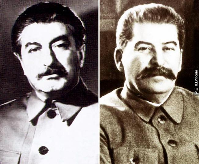 14.)史達林 (右邊)與他的兄弟 Felix Dadaev (左邊)。