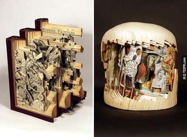 這名稱作「書本手術師」的藝術家把舊書變成這些鬼斧神工的藝術。你一定要看看!
