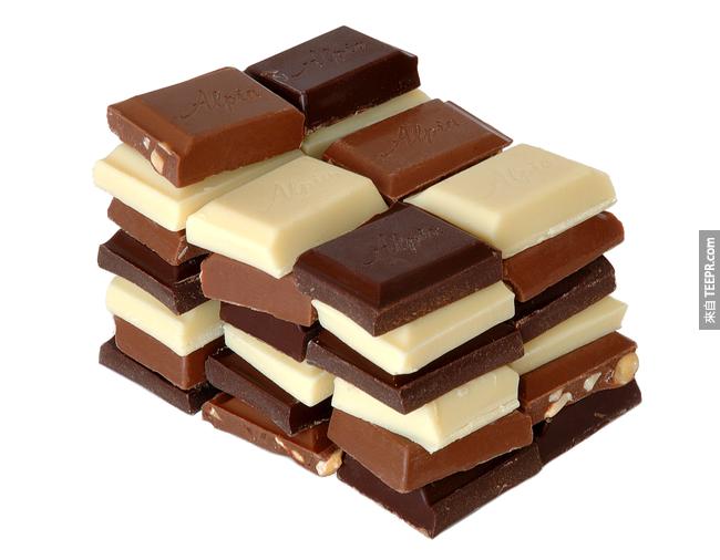 10. 巧克力的香味會增加腦波中放鬆的電波。