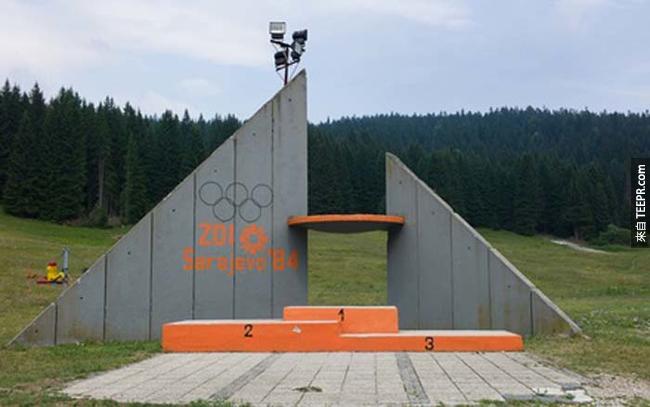 1984年塞拉耶佛奧運的頒獎台。