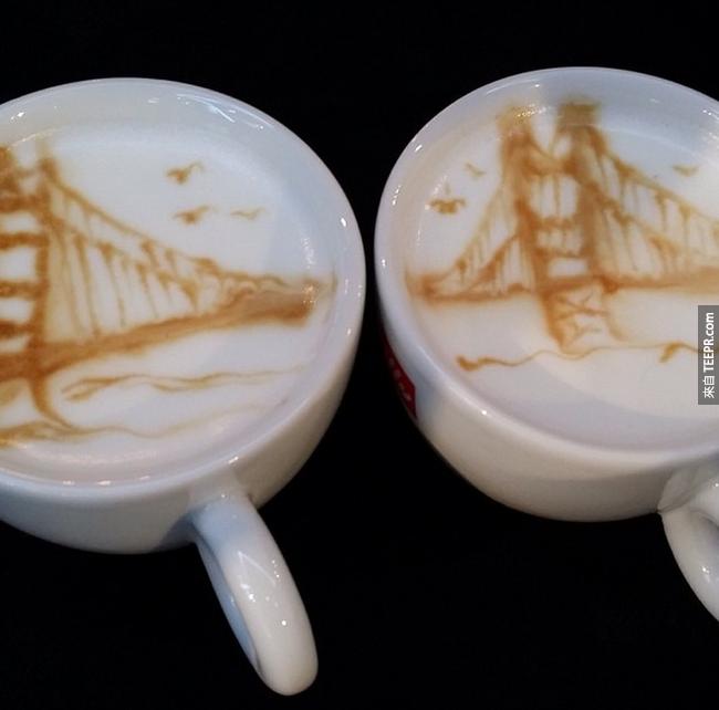 用兩杯咖啡來完成舊金山金門大橋(San Francisco Golden Gate Bridge)!