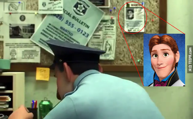 So even though Big Hero 6 hasn't been released yet, we have its first Easter egg. The trailer includes a scene where Hans from Frozen is seen in a Wanted poster.