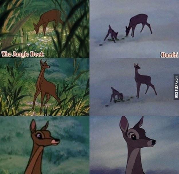 20. 小鹿斑比的媽媽也有在《森林王子》裡面。