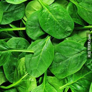 10. 波菜等綠葉蔬菜可以提昇你的體力,讓你骨骼強壯,並保護你的眼睛。