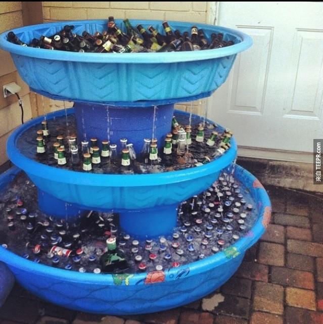 壯觀的酒精噴水池。