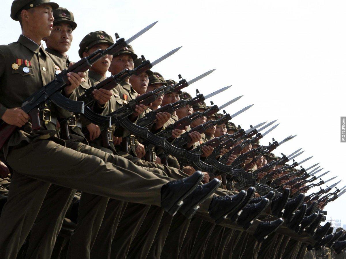 北韓有全世界第四大的常備軍。