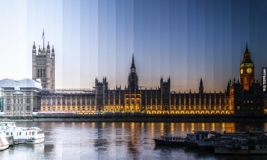 這個人把知名景點不同時間的景色拼湊成一張完美的照片。