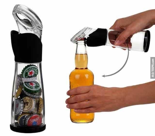 16. 可以轻松蒐集瓶盖的开瓶器。