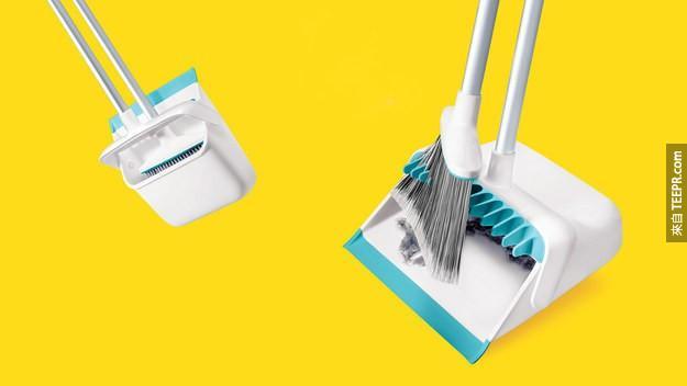 18. 一个聪明的畚箕让灰尘不会卡在扫把上。