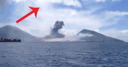 我沒有想到火山爆發時的音爆會這麼震撼,特別是過了幾秒之後...