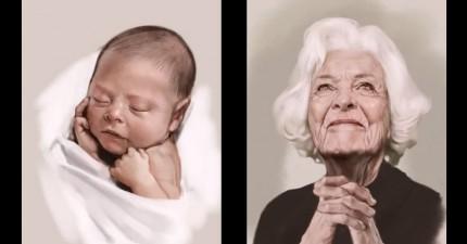 這個畫家不間斷的把一名女性從幼兒畫到老年。