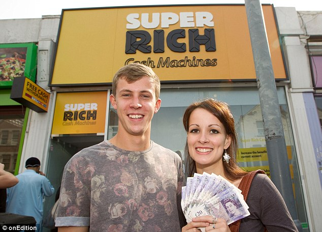 Super rich? Hugo Ellis and his girlfriend Celeste Powell scooped £500 by using the Betfair machine