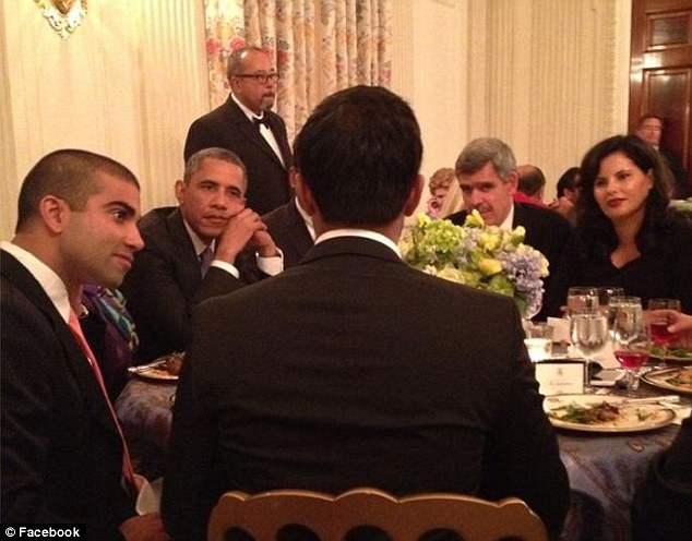 Life at the top:Mohamed El-Erian (pictured second right) attends a dinner with President Obama and other business high-fliers