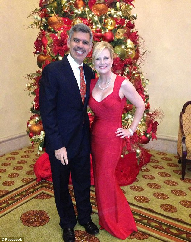 Mr El-Erian, pictured with his wife Jamie, who is a lawyer in Laguna Beach, California. The top financier quit his role as head of PIMCO last year so she could spend more time with his family