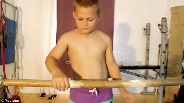 Happy New School Year: To celebrate his start in Year 5 at his school the youngster posted a new video of himself on the internet performing an astonishing series of 90-degree press ups