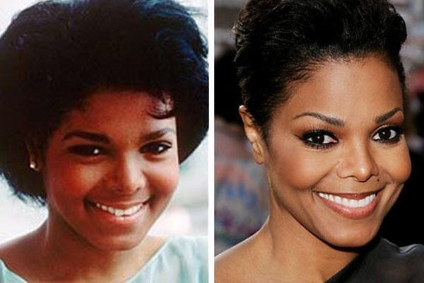 10. 珍娜·杰克森(Janet Jackson)也是差异很大啊...尤其是鼻子...