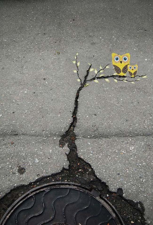 路邊的裂縫?只要善用創作力就能變成全新的美景, Alexey Menschikov 的作品 (俄羅斯)