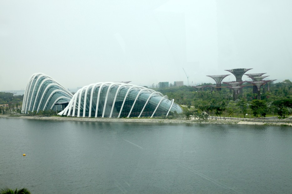 新加坡濱海灣公園(Gardens by the Bay)裡頭的Cloud Forest和Flower Dome建築
