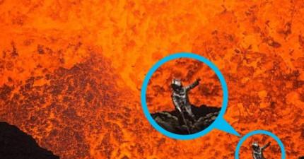這位不怕死的冒險家,跳下一座正在爆發的火山口自拍。他說「這就是通往地獄的窗口」。