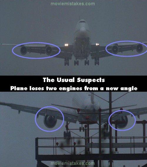 29. 《刺激驚爆點》(The Usual suspects):在他們搶了警車後,一台波音747的飛機(四個引擎)著陸了,但當我們從飛機的後方看,飛機卻只有兩個引擎,可能是空中巴士A330。