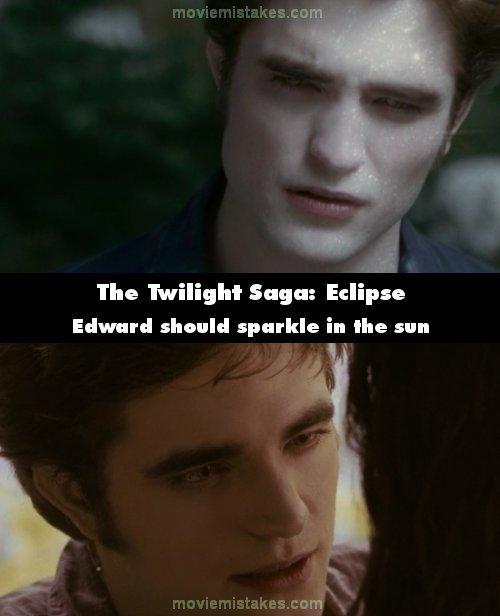 11. 《暮光之城3:蝕》(The Twilight Saga: Eclipse):在最後一個場景,當愛德華(Edward )和貝拉(Bella)一起坐在太陽下,愛德華並沒有閃閃發亮。