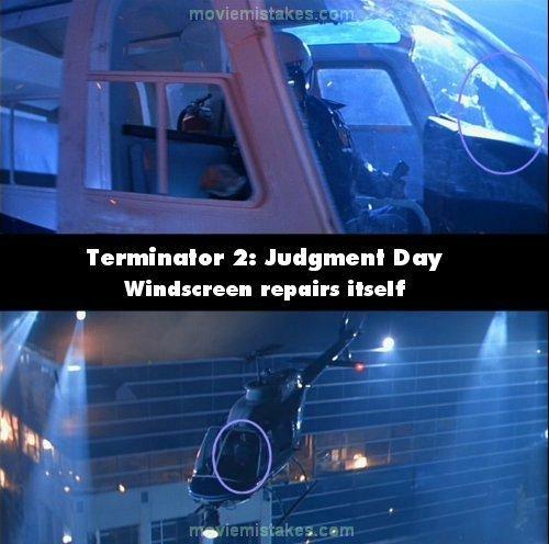14. 《魔鬼終結者第2集》(Terminator 2: Judgment Day): T-1000機器人突破玻璃窗跳上飛機。但下個鏡頭,大樓窗戶的破洞就不見了。
