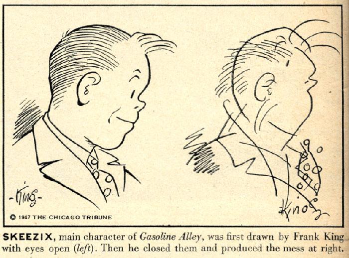 在1947年的時候,他們請這些漫畫家矇著眼睛看看能不能畫出已經畫了幾千次的漫畫角色。