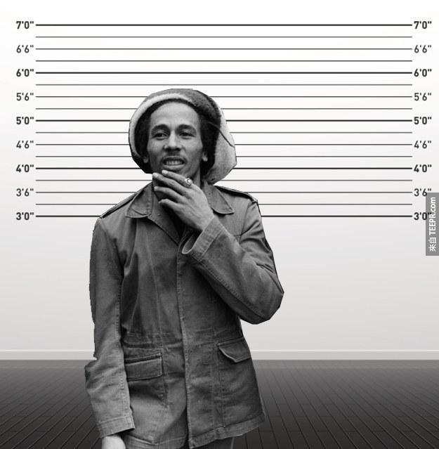 22. 巴布·馬利(Bob Marley):身高170cm