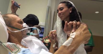 他戰勝不了癌症,但是卻能在走之前收到女兒給他的最美的禮物。