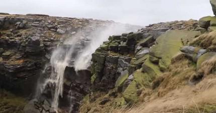 我沒看錯吧?!這個瀑布的水流居然是往上的!地心引力忘記工作了嗎?!