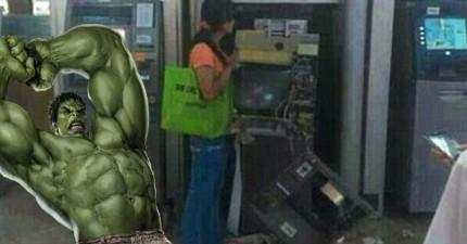 中國「女浩克」暴怒徒手拆爆提款機,原因不是搶錢,而是讓人完全傻眼的理由...