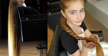 這個12歲小女孩是真人版的《長髮姑娘》!但更驚人的是她的頭髮要洗多久和吹多久...