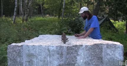 這名男子只用一個小錘子就把一顆12000公斤的大石碎成兩半。我本來以為會很無聊的...但真的太酷了!